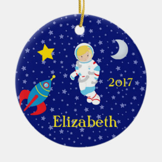 Astronaut Girl Night Sky Rocket Ornament