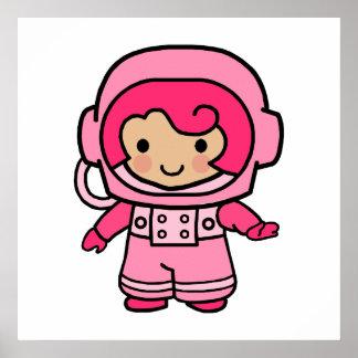 Astronaut Girl Poster