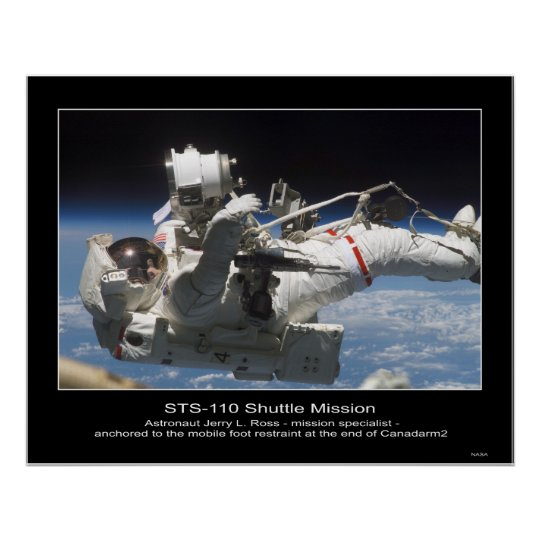 Astronaut Jerry L. Ross anchored to the Mobile Poster