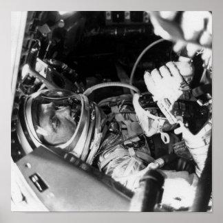 Astronaut John Glenn inside Friendship 7 Posters