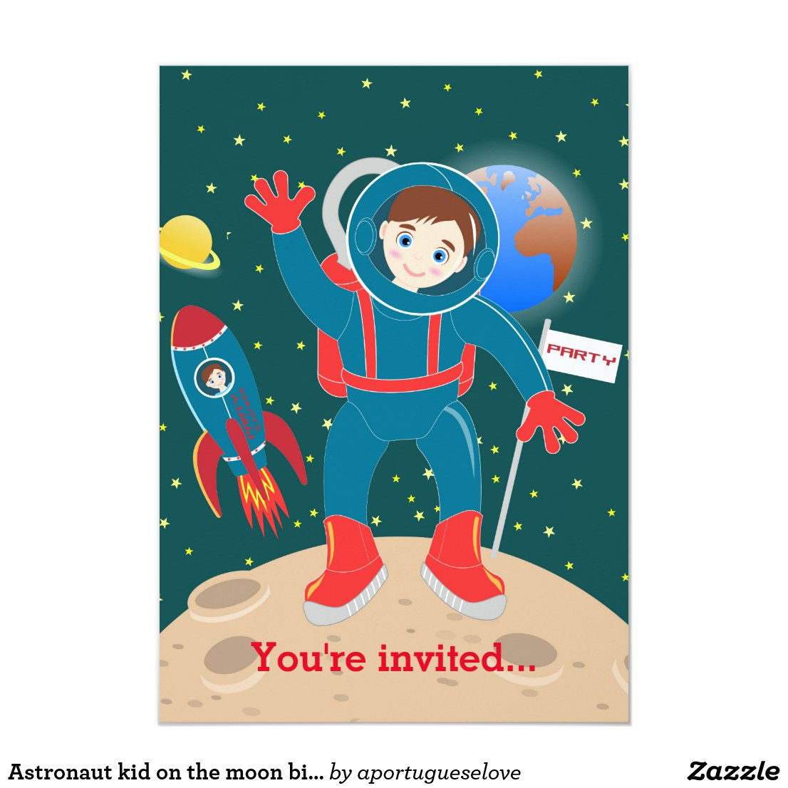 Astronaut kid birthday party card