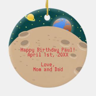Astronaut kid birthday party ceramic ornament