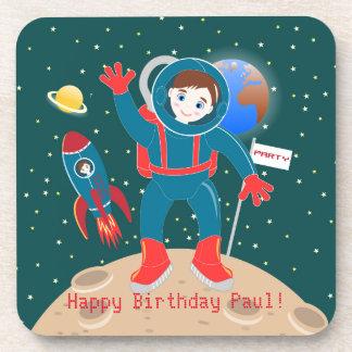 Astronaut kid birthday party coaster
