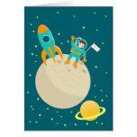 Astronaut kid birthday party greeting card