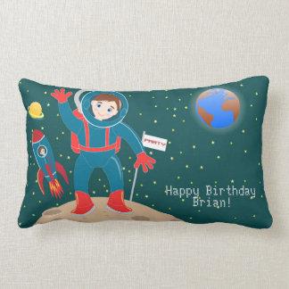 Astronaut kid birthday party lumbar pillow