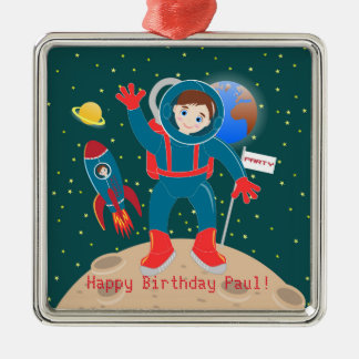 Astronaut kid birthday party metal ornament