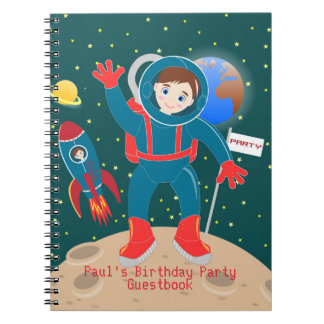 Astronaut kid birthday party notebook