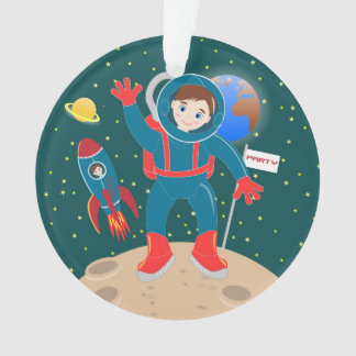 Astronaut kid birthday party ornament