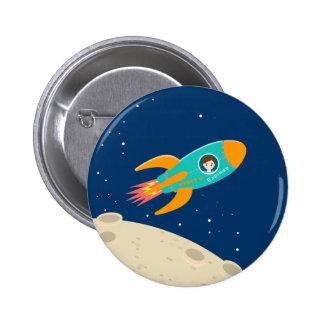 Astronaut kid birthday party pinback button