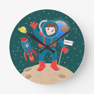 Astronaut kid birthday party round clock
