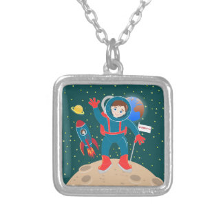 Astronaut kid birthday party silver plated necklace