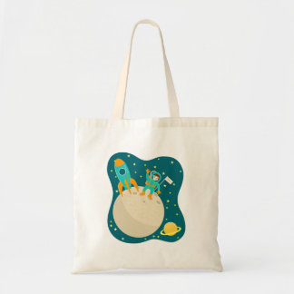 Astronaut kid birthday party tote bag