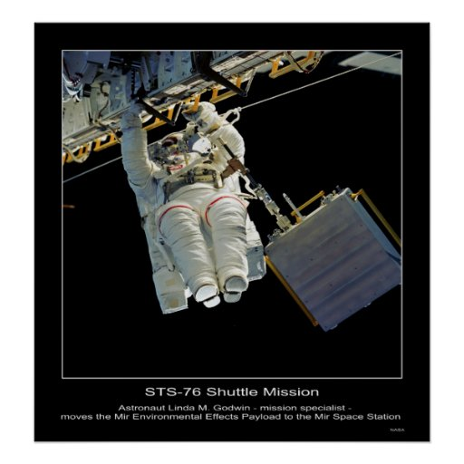 Astronaut Linda M Godwin outside Mir Space Station Poster