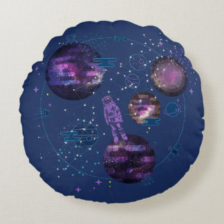 Astronaut Lost in Space Round Pillow