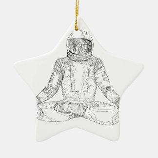 Astronaut Lotus Position Mandala Ceramic Ornament