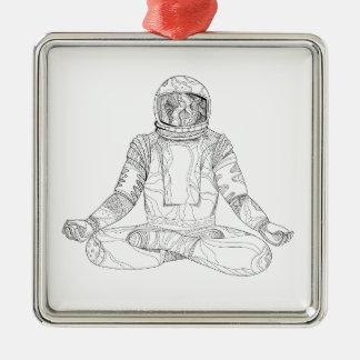 Astronaut Lotus Position Mandala Metal Ornament