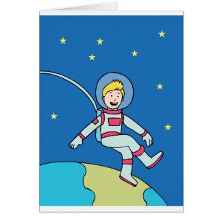 Astronaut Man Orbiting Earth Cartoon Card
