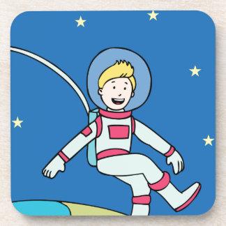 Astronaut Man Orbiting Earth Cartoon Beverage Coaster
