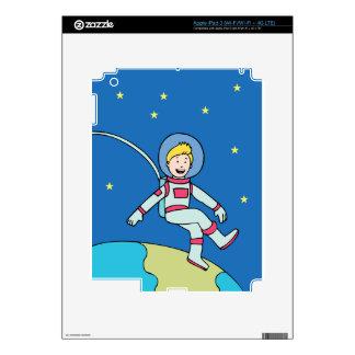 Astronaut Man Orbiting Earth Cartoon Decal For iPad 3