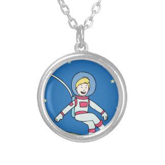 Astronaut Man Orbiting Earth Cartoon Round Pendant Necklace
