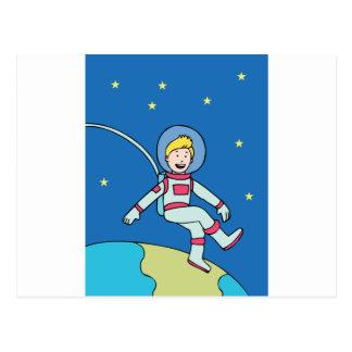 Astronaut Man Orbiting Earth Cartoon Postcard