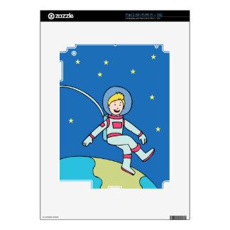 Astronaut Man Orbiting Earth Cartoon Skins For The iPad 2