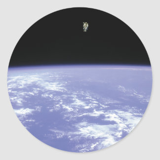 Astronaut McCandless Free Flying with Jetpack Classic Round Sticker