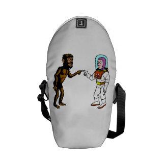 Astronaut Meets Caveman Courier Bag