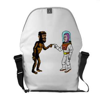 Astronaut Meets Caveman Messenger Bags