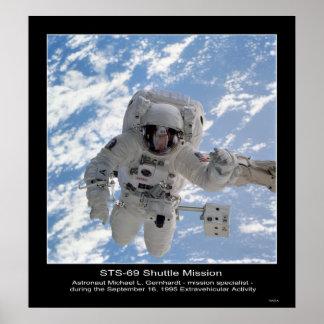 Astronaut Michael L Gernhardt EVA - STS - 69 Poster