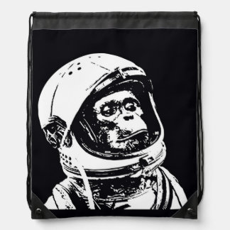 Astronaut Monkey Drawstring Bag
