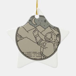 Astronaut Moon Stars Circle Mono Line Ceramic Ornament