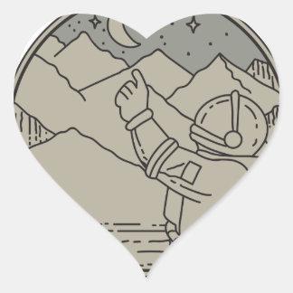 Astronaut Moon Stars Circle Mono Line Heart Sticker