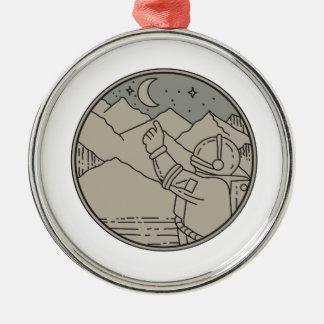 Astronaut Moon Stars Circle Mono Line Metal Ornament