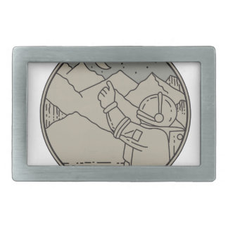 Astronaut Moon Stars Circle Mono Line Rectangular Belt Buckle