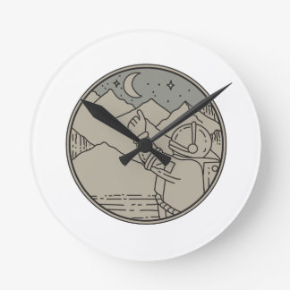 Astronaut Moon Stars Circle Mono Line Round Clock
