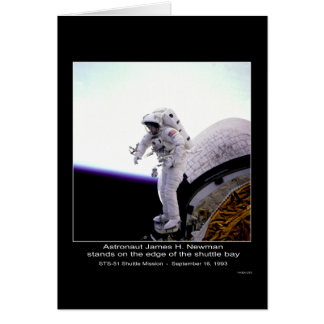 Astronaut Newman @ edge of the STS-51 Shuttle Bay Card