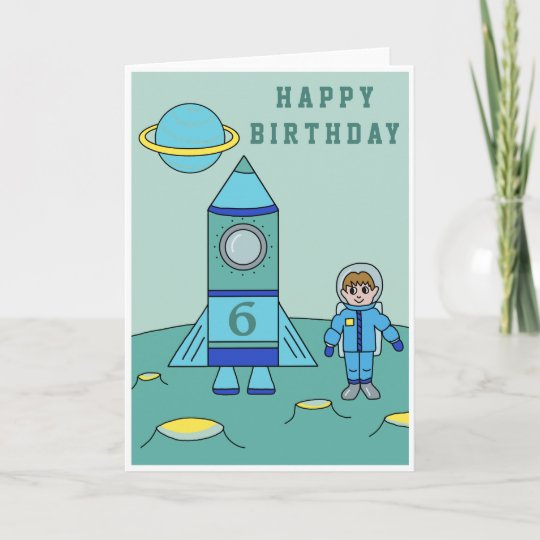 Astronaut On The Moon Space Happy Birthday Card Zazzle
