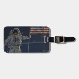 Astronaut on the Moon with American Flag Luggage Tag