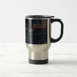 Astronaut on the Moon with American Flag Travel Mug