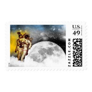 Astronaut Orbiting the Moon Stamp