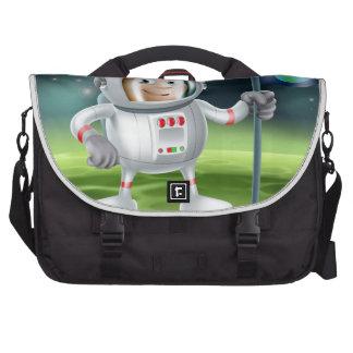 Astronaut Outer Space Cartoon Laptop Messenger Bag