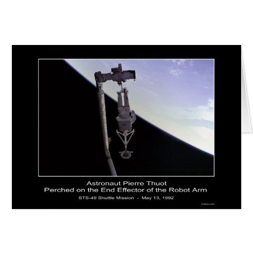 Astronaut Pierre Thout Perched edge Robot Arm - ST Greeting Card