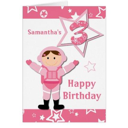 Astronaut Pink Stars Happy 3rd Birthday