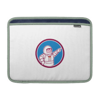 Astronaut Pointing Front Circle Cartoon MacBook Sleeve