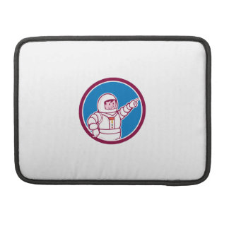 Astronaut Pointing Front Circle Cartoon Sleeve For MacBook Pro