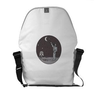 Astronaut Pointing Stars Moon Shuttle Mono Line Messenger Bag