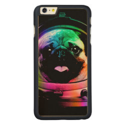 Carved iPhone 6 Plus Slim Wood Case with Pug Phone Cases design
