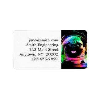Astronaut pug - galaxy pug - pug space - pug art label