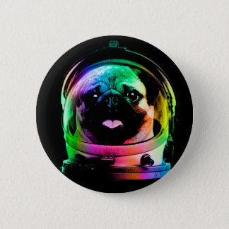 Astronaut pug - galaxy pug - pug space - pug art pinback button